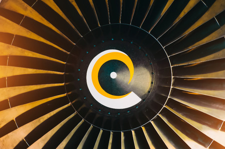 Aircraft engine close up a blades spiral