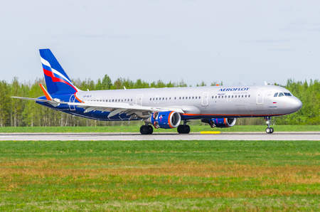 Airbus a321 Aeroflot, airport Pulkovo, Russia Saint-Petersburg May 2017