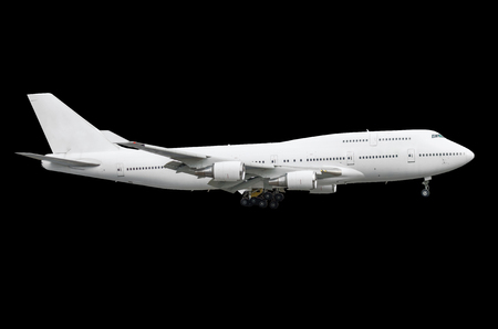 Large passenger white two-storey aircraft airplane insulated isolated black background