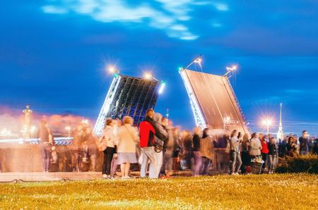 Bridge over the Neva River people. Russia, St. Petersburg July 2016