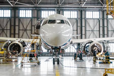 Airbus a320 for maintenance in the hangar. Russia, Saint-Petersburg, November 2016 報道画像