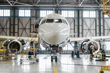 Airbus a320 for maintenance in the hangar. Russia, Saint-Petersburg, November 2016 Éditoriale