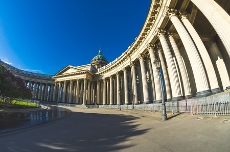 View Kazan Cathedral in Saint Petersburg blue sky morning