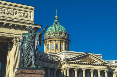 st petersburg: Kazan Cathedral in Saint Petersburg blue sky