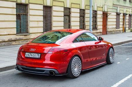 Modern red Audi car. Russia, Saint-Petersburg, June 2017