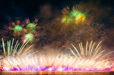 pyrotechnics: Abstract colored firework with the rays of light directed to the sky