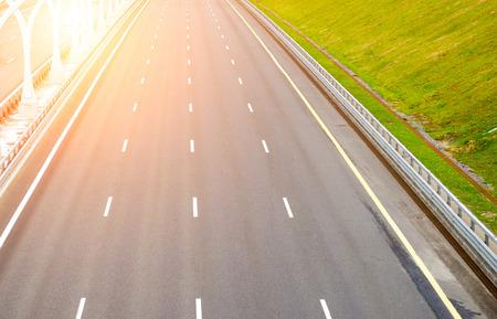 Empty multi-lane road asphalt let the markings