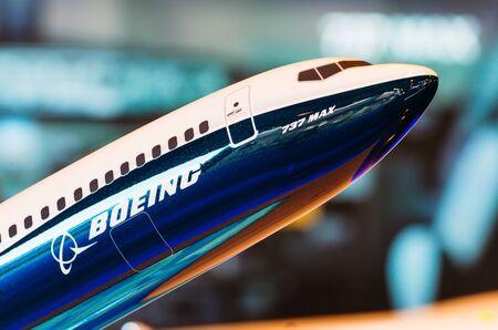 展覧会では、ボーイング 737 max をモデル化します。ロシア、モスクワ。2017 年 7 月 報道画像