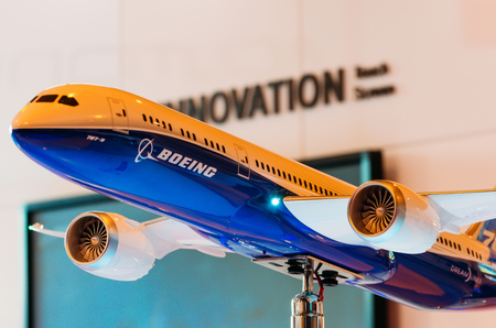 commercial event: Exhibition models boeing aircraft 787. Russia, Moscow. July 2017 Editorial