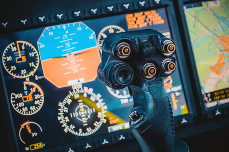 avionics: Steering wheel, aircraft, pilots control cabin, dashboards,