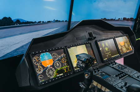 Helicopter pilot cabin and control panel with steering wheel, simulator Stock Photo