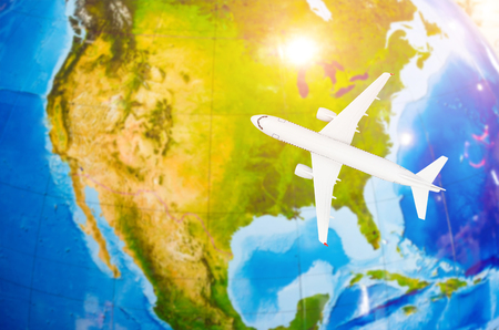 Flight to North America symbolic image of travel by plane map Stock Photo
