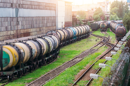 freight train: Long trains of a train of cisterns with fuel oil on a railway