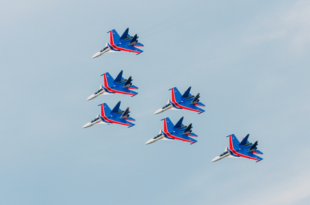 Russian Knights demonstration flights. Russia, Moscow, airport Zhukovsky. July 22, 2017