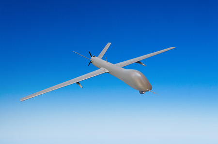 Unmanned military aircraft on white background blue sky