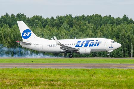 Boeing 737 Utair airlines, airport Pulkovo, Russia Saint-Petersburg August 10, 2017 Editorial