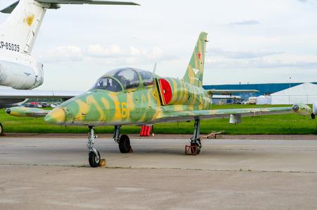 Military Yak Yakovlev fighter jet. Moscow, airport Zhukovsky. July 20, 2017