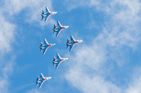 Russian Knights demonstration flights. Russia, Moscow, airport Zhukovsky. August 29, 2015 Editorial