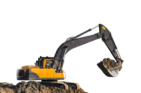 sand quarry: Excavator work on the ground on isolated white background