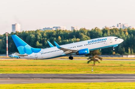 Boeing 737 Pobeda airlines, airport Pulkovo, Russia Saint-Petersburg September 23, 2017