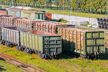 Sorting freight wagons on the railroad while formation the train Stock Photo