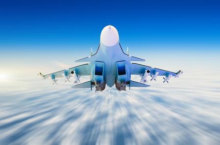 Aereo militare di combattimento ad alta velocità che vola alto nel cielo Archivio Fotografico - 87273700