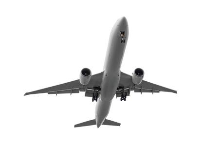 흰색 배경에 고립 된 승객 큰 비행기 스톡 콘텐츠