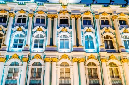 Winows winter Palace Hermitage at night in St. Petersburg Stock Photo
