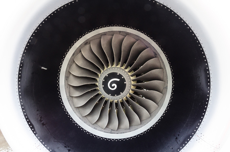 Close up of a turbofan jet engine in modern airplane