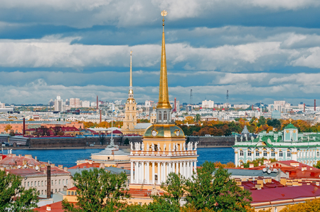 Beautiful view to spires of Admiralty and Peter-Pavels Fortress from Isaac cathedral, Saint Petersburg, Russia Stock Photo