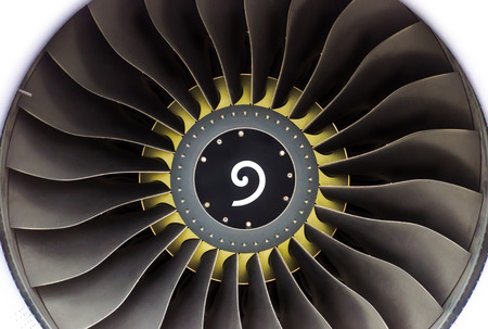 Engine aircraft with blades close-up with a yellow circle near the center Stock Photo