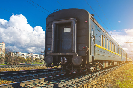 Old dirty Passenger Train Cars on station in Russia