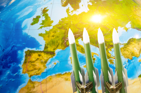 Race of weapons, nuclear weapons, the threat of war in the world. Missiles against the background of Europe
