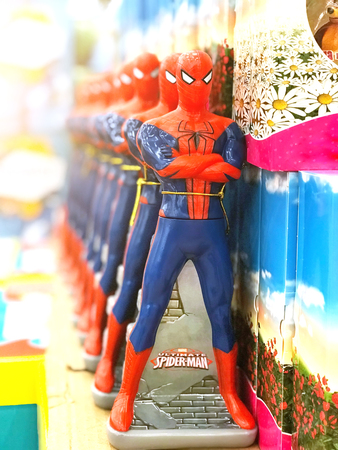 A number of spider man toys. Russia, Saint-Petersburg. 10 November 2017 Éditoriale