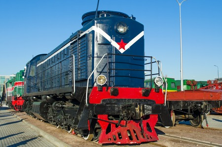The old electric, diesel locomotive of times of the USSR. Russia Saint-Petersburg. November 02, 2017 Editorial