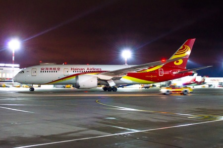 Boeing 787 Dreamliner Hainan airlines, airport Pulkovo, Russia Saint-Petersburg 22 November, 2017