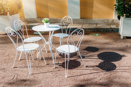 Outdoor summer cafe in classic style sun 写真素材