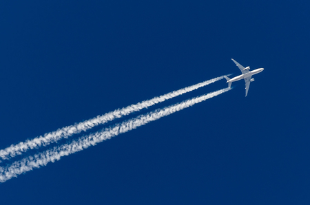 Airplane big four engines aviation airport contrail clouds