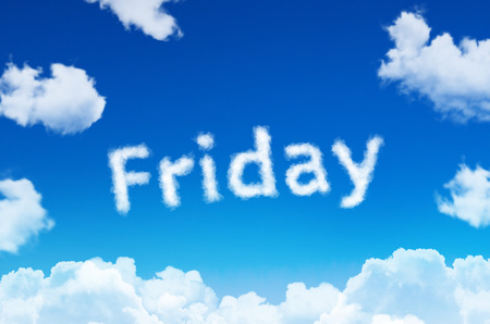Days of the week - friday cloud word with a blue sky Banque d'images