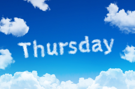 Days of the week - thursday cloud word with a blue sky Stock Photo