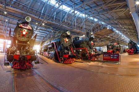 The old steam locomotives of times of the USSR. Russia Saint-Petersburg. Museum Railways of Russia December21, 2017