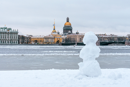 Hermitage, St. Isaacs Cathedral, the Admiralty Saint Petersburg in the winter snowman Stock Photo