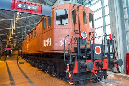 Locomotive of times of the USSR. Russia. Saint-Petersburg. Museum Railways of Russia December 21, 2017