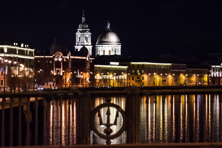 The Church of St. Catherine the Great Martyr at night from the Stock Exchange Bridge