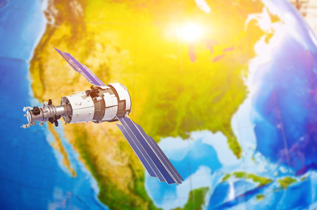 Satellite tracking communications in space over North America- Canada, USA, Mexico