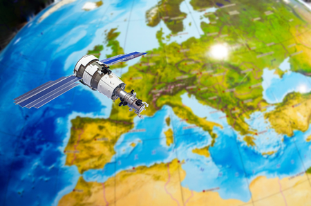 Satellite tracking communications in space over Continent Europe Stock Photo