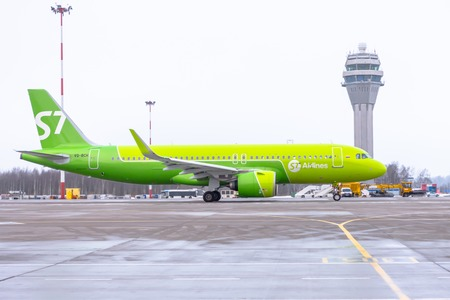 Airbus a320 neo S7 airlines, airport Pulkovo, Russia Saint-Petersburg. December 19. 2017
