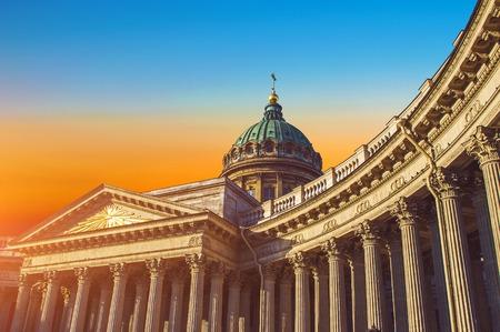 View Kazan Cathedral in Saint Petersburg sunrise sky morning