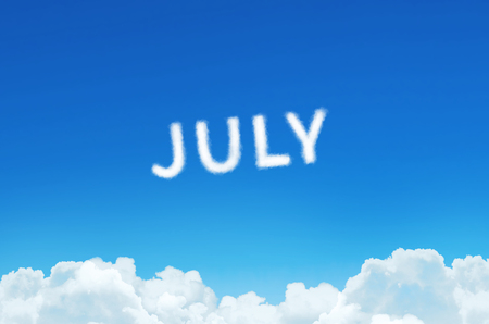 Word July made of clouds steam on blue sky background. Month planning, timetable concept Stock Photo