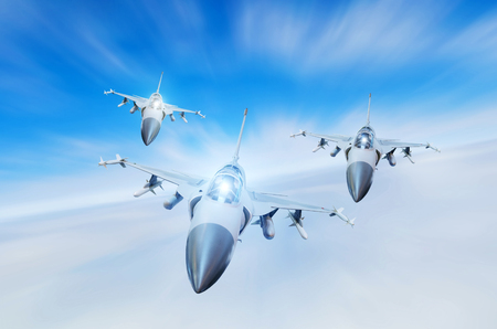 Military fighters jet three group aircraft at high speed, flying high in the sky